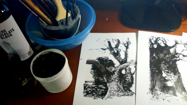 Tree studies ink on paper