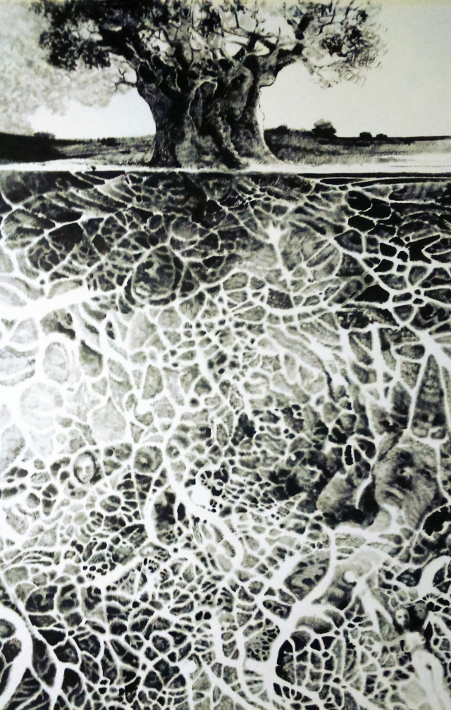What lies beneath Ink on Fabriano 70cm x 100cm Available at Art Eye Gallery